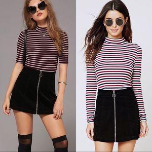 Forever 21 black corduroy zip A-line mini skirt XS